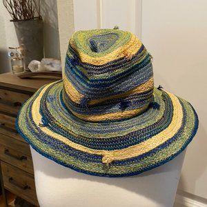 Anthropologie raffia multicolored beach hat - wire